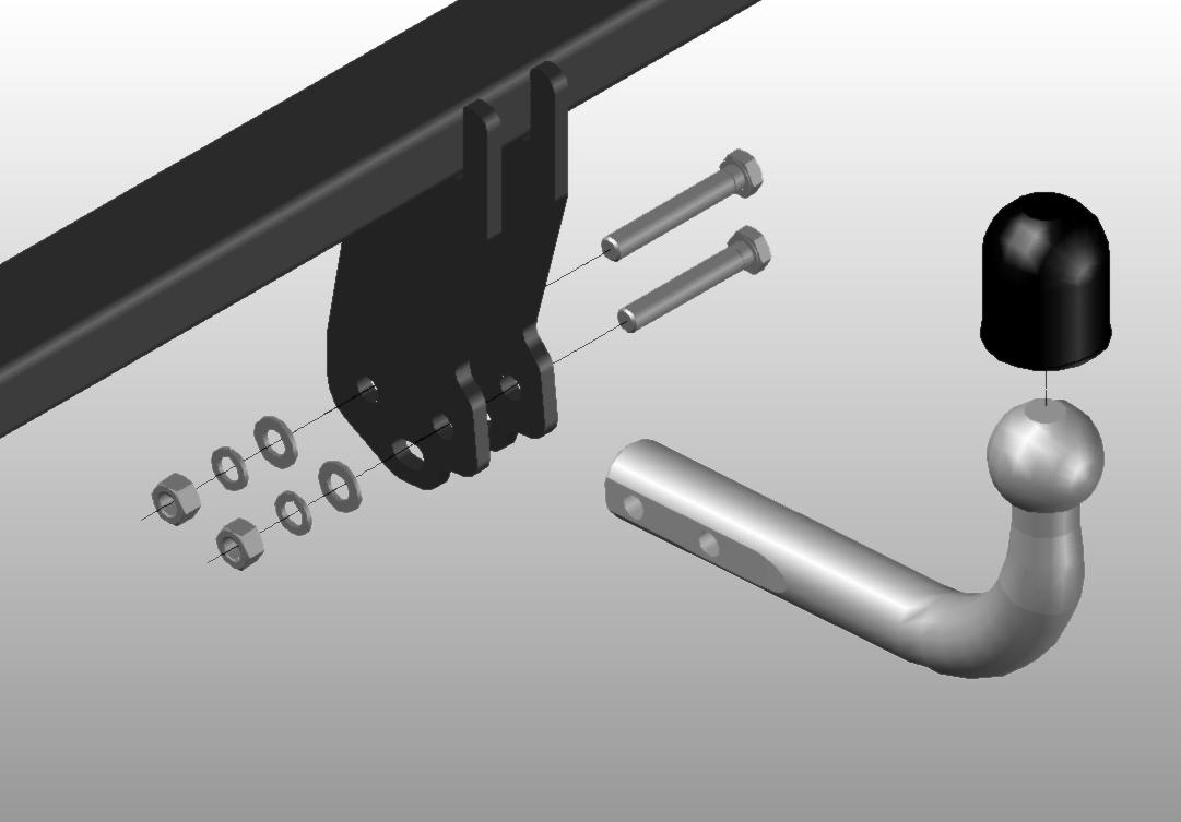 Hak z kulą na dwie śruby odkręcany
